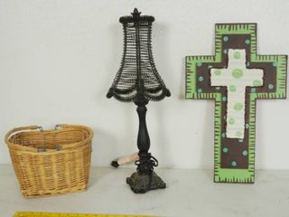 Cool Wicker Basket  lamp  and Cool Wall Metal Hanging Cross