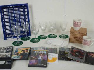 lot of Wine Glasses  2 Mugs w  Original Box  Churchill of England  DVD Movies  007   More