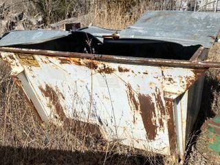 White Metal Trash Dumpster