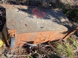 Red Metal Trash Dumpster
