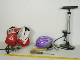 lot of Misc  Items   Boxing Gloves  Children s Purple Bike Helmet  Schwinn