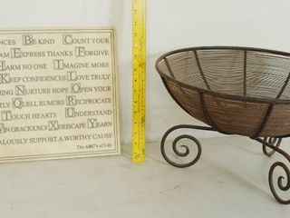 Wall Handing Decor  White Marble   House Parts  and a Metal Decorative Basket