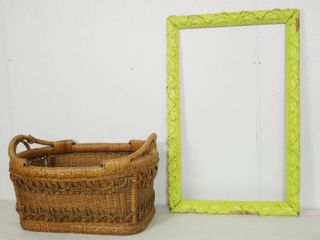 Funny Picture Wood Frame and large Heavy Duty  Wicker Basket  approx 21  long and 20  Wide