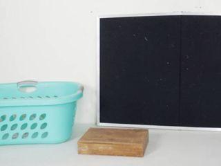 laundry Basket  Wood Shelf 11 81  x 7 87  x 2 36   Hobby lobby  and Flannel Board 37  long