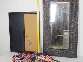 lot of Flags  Wall Hanging Mirror  and a Organizer Board