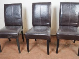 lot of 3 High Back leather Chairs  See Photos