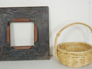 Beautiful Metal Frame Wall Decor  24 x 24  and a Very Heavy Duty Wicker Basket  See Photos