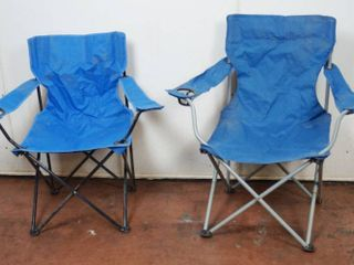 2 Blue Foldable Outside Chairs