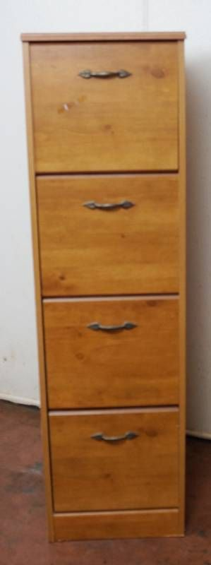 Very Nice Wood 4 Drawer Filling Cabinet  55  tall x 15  wide x 9 1 2  deep