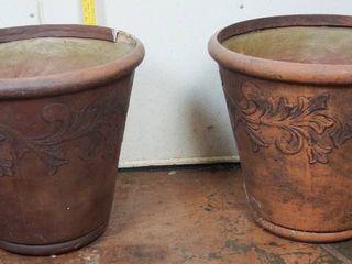 lot of 2  Ceramic Flower Pot  approx  19  tall x 22  dia