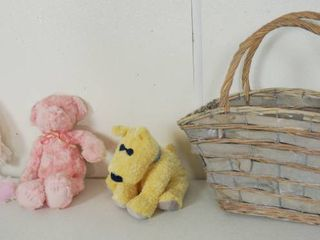 lot of Stuffed Animals   Bunnies for EASTER and a Basket