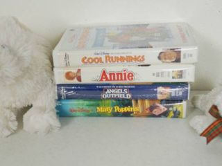 lot of Disney VHS Movies   Cool Runnings  Annie  Angels Outfield   Mary Poppins and 2 Stuffed Animals  1 is a TY Beanie  Kirby