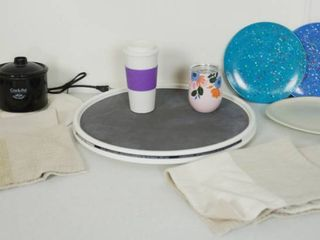 lot of Kitchen Items   Crock Pot little Dipper  Plates  and a Turnable Table 18  and More