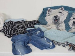 Very Nice Dog Afghan Blanket  lot of Nice Clothes  jeans size 4  and Basket