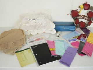 lot of Misc  Items   Tissue Paper  Welcome Apple Wall Hanging Decor  and More