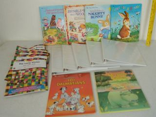 lot of Children s Book and lot of White Plastic Binders