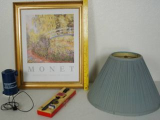 Vintage Radio Watch  Fast Fill Air Pump  Wall Hanging Picture  and light Blue lamp Shade