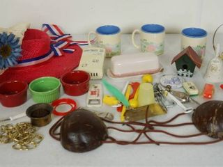 lot of Misc  Items   Hats  Sm Sauces Dishes  and More  See Photos