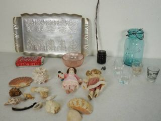 Vintage Silver Tray  Blue Ball Jar  Sea Shells and More