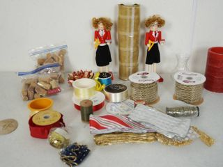 lot of Craft Items and 2 Wood Dolls