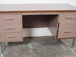 Metal Desk   55  long x 24  deep x 29  Tall