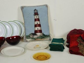lot of Dishes  Bowls  Material Napkins  light House Pillow