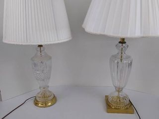 2 table lamps with glass stands and brass bases