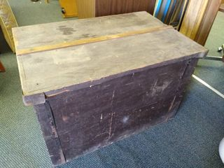 Vintage wooden box with lid 24 1 2  H X 37 1 2  W X 24 1 2 D