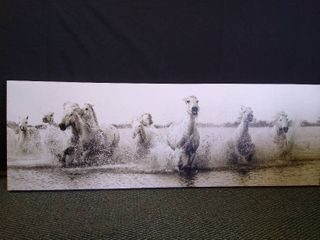 Horses running in water hanging wall art   18  H X 53  W