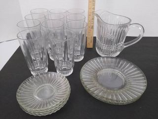 19  Pitcher glasses saucers   plates