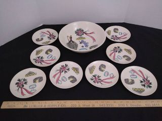 8  matching small plates   bowl