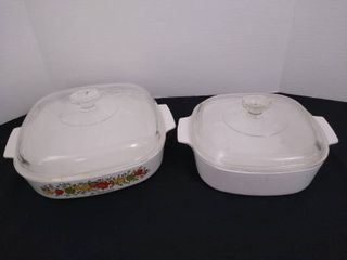 2 square casserole dishes with lids