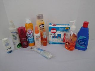 Bathroom supplies including a lice kit  wound wash  hair spray and more