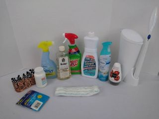 Cleaning supplies including Clorox toilet cleaning wand  freezer  bath and body works soap holder and more