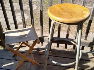 Stool 28  H and a vintage camp stool