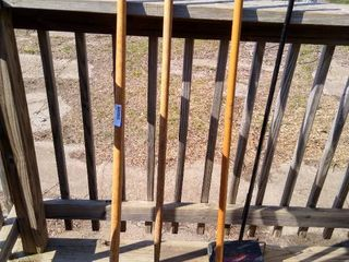 Garden rake  outdoor broom and a Workshore carpet sweeper