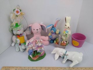 7  Easter figurines  stuffed bunny