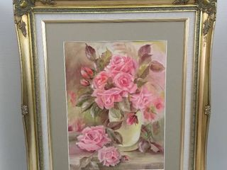 Floral hanging wall art by Mildred Coley   25 1 2  H X 21 1 2  W X 1 1 2 D