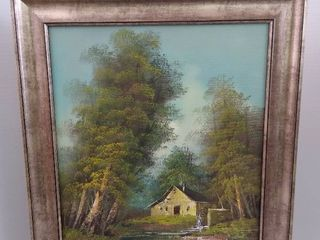Cabin in the woods oil painting 24 1 2  H X 20 1 2  W
