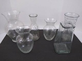 6 tall glass vases   tallest is 11  H