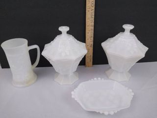 Milk glass candy dishes   milk glass cup