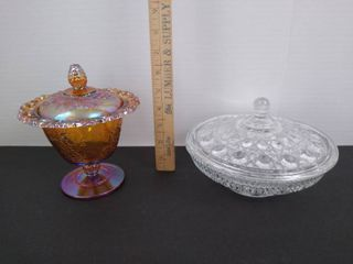 Grape paneled amber tint candy dish and clear glass candy dish