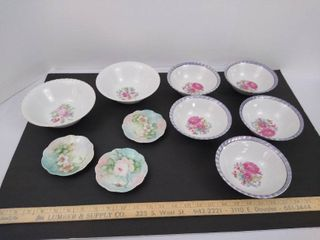 10 small decorative plates and bowls