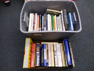 Tub of assorted books