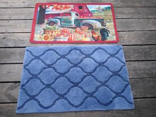 Farm floor mat   blue bathroom floor mat