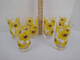 6 sunflower themed glasses 5 1 2  H