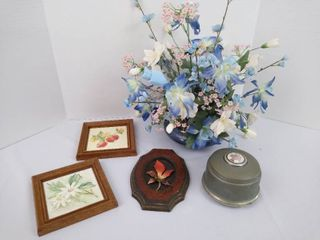 Music box  vase with faux flowers  and 3 hanging floral decor