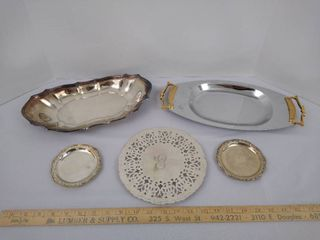 5 silver plated dishes