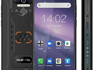Rugged Cell Phone Unlocked OUKTEl WP5 8000mAh Battery  Android 10 0 Rugged Smartphone  5 5 Inch 4GB RAM 32GB ROM  IP68 Waterproof Shockproof Phone with 4 lED Flashlights  Triple Camera  Dual SIM 4G