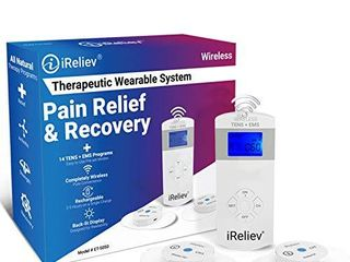 iReliev Wireless TENS   EMS Therapeutic Wearable System Wireless TENS Unit   Muscle Stimulator Combination for Pain Relief  Arthritis  Muscle Conditioning  Muscle Strength